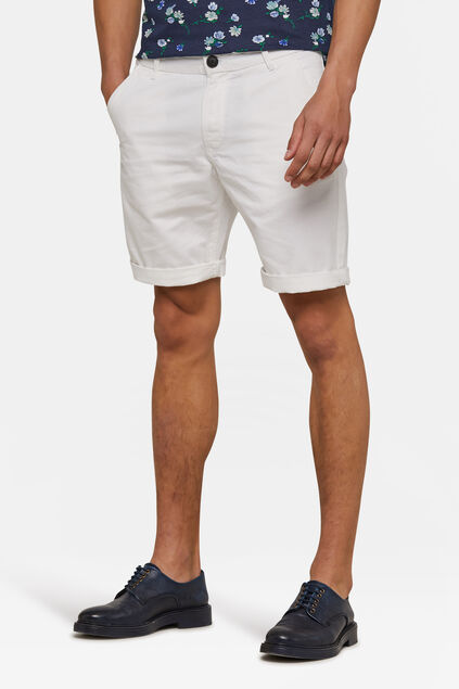Heren regular fit chino short Wit