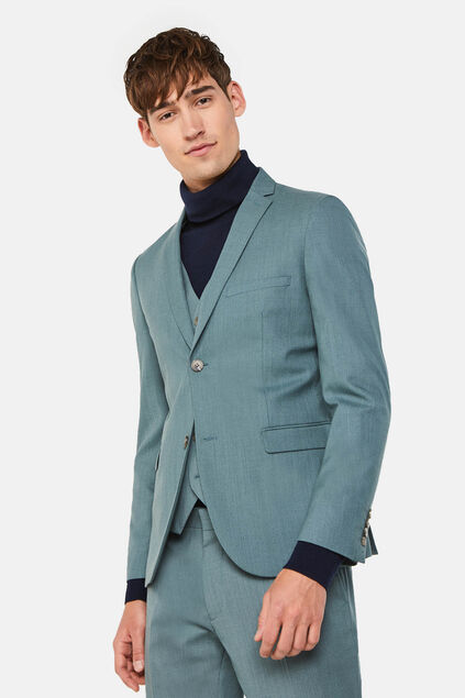 Heren skinny fit blazer met stretch, Dali Grijsgroen