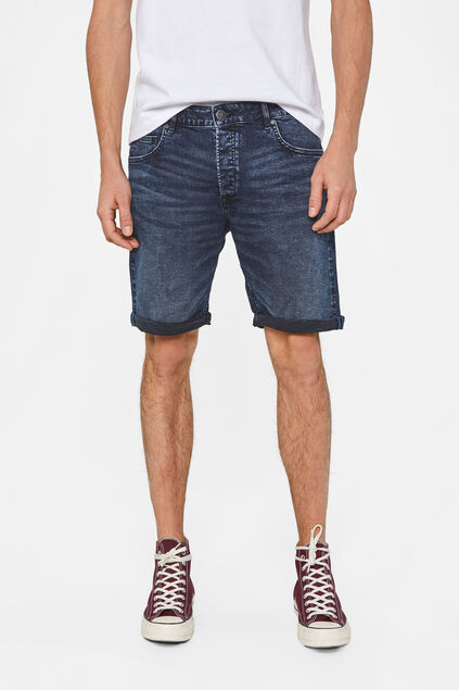 Heren regular fit denimshort Donkerblauw