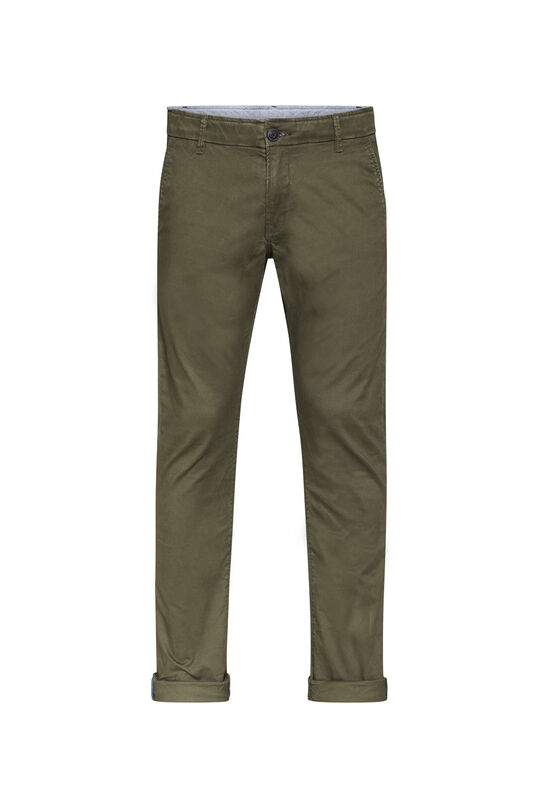 Heren slim tapered effen chino Donkergroen
