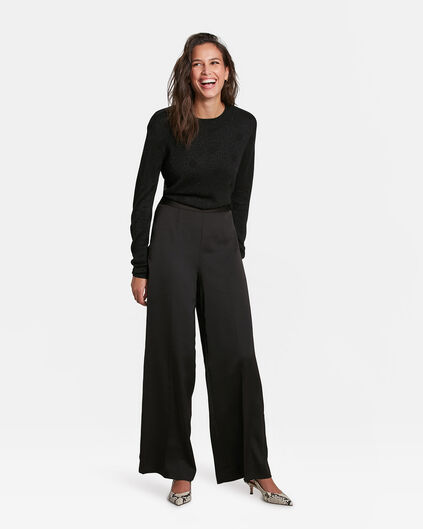 DAMES WIDE LEG SATIN PANTALON Zwart