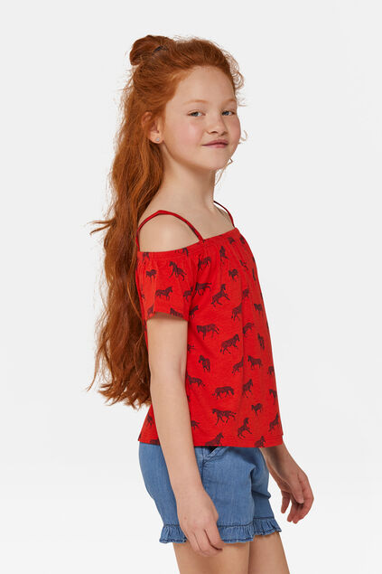 Meisjes zebraprint off-shoulder top Rood