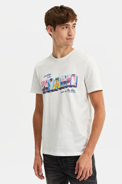 Heren T-shirt met dessin Wit