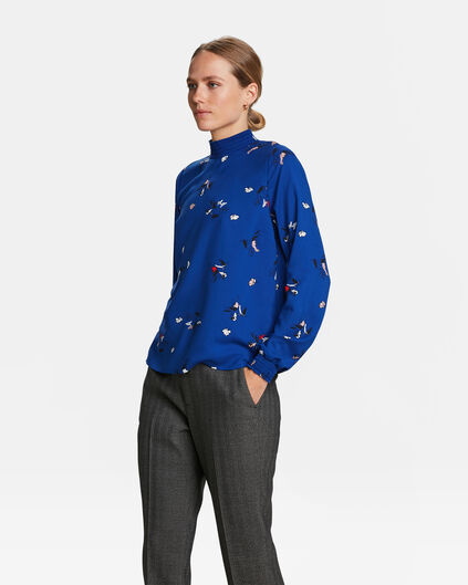 DAMES BLOEMENPRINT SMOCK TOP Marineblauw