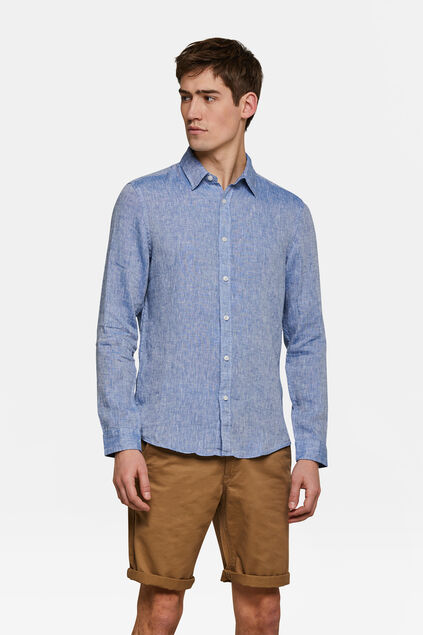 Heren slim fit linnen overhemd Marineblauw