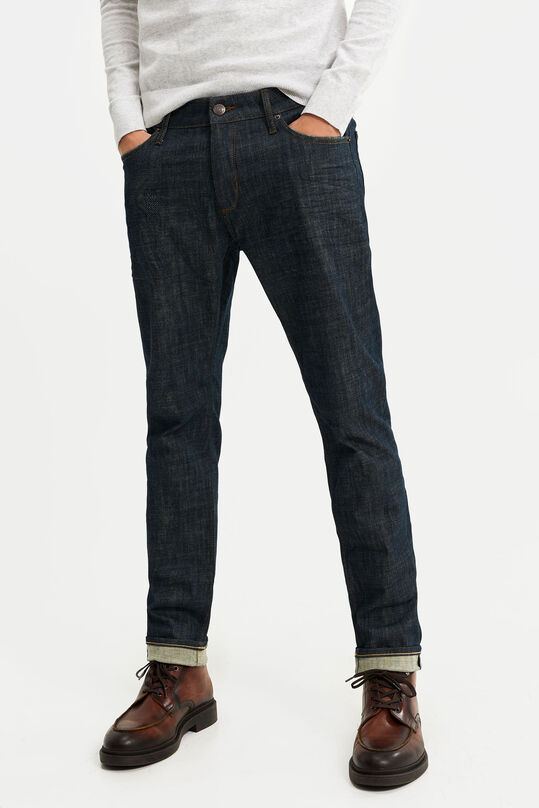 Heren slim fit jeans met comfort stretch Marineblauw