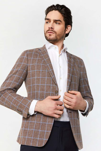 Heren slim fit geruite blazer Domenico All-over print