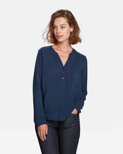 DAMES CHEST POCKET BLOUSE Donkerblauw