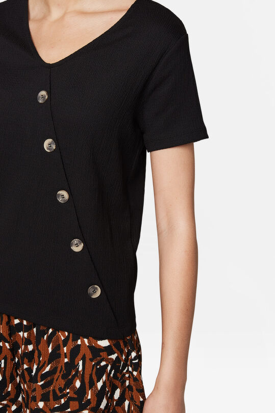 Dames knoopdetail top Zwart