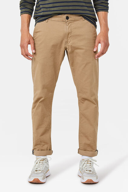 Heren slim tapered effen chino Beige