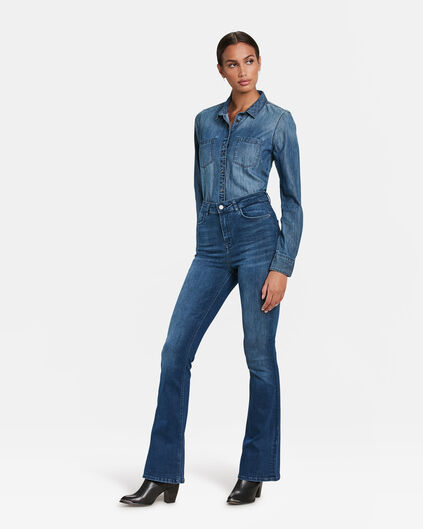 DAMES HIGH WAIST FLARE HIGH STRETCH JEANS Blauw