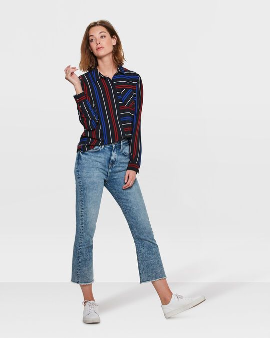DAMES HIGH RISE COMFORT STRETCH KICK FLARE CROPPED JEANS Blauw