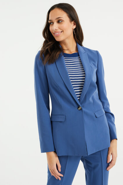 Dames regular fit blazer met stretch IJsblauw