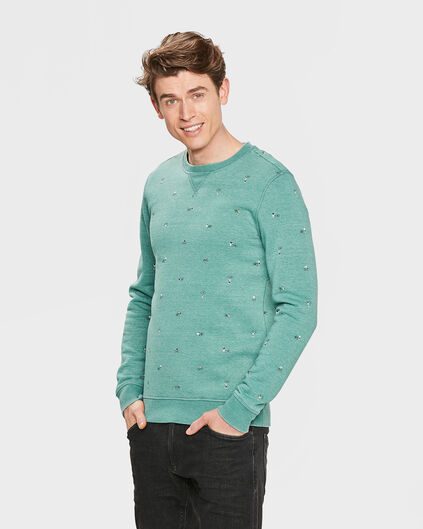 HEREN BIKE PRINT SWEATER Mintgroen