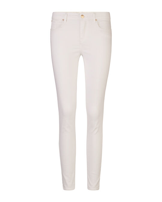 DAMES MID RISE SKINNY HIGH STRETCH CROPPED JEANS Wit