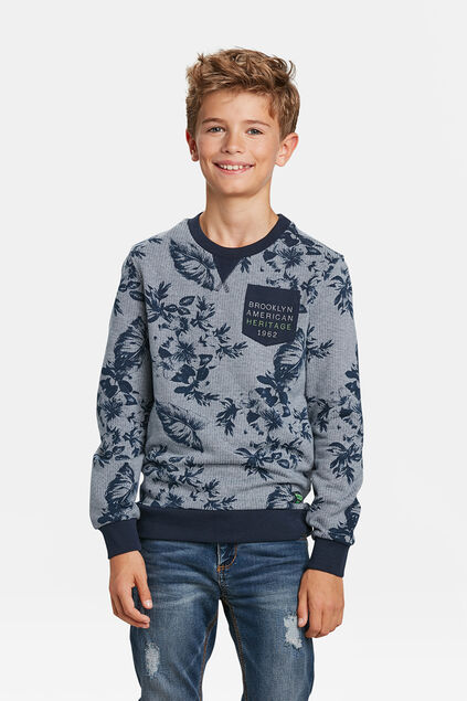 JONGENS BLOEMENPRINT SWEATER Marineblauw