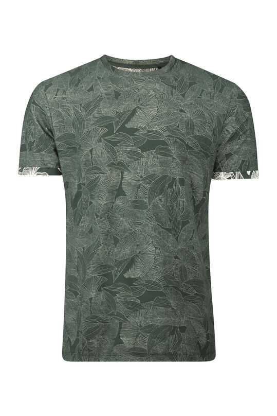 Heren bladprint T-shirt Legergroen