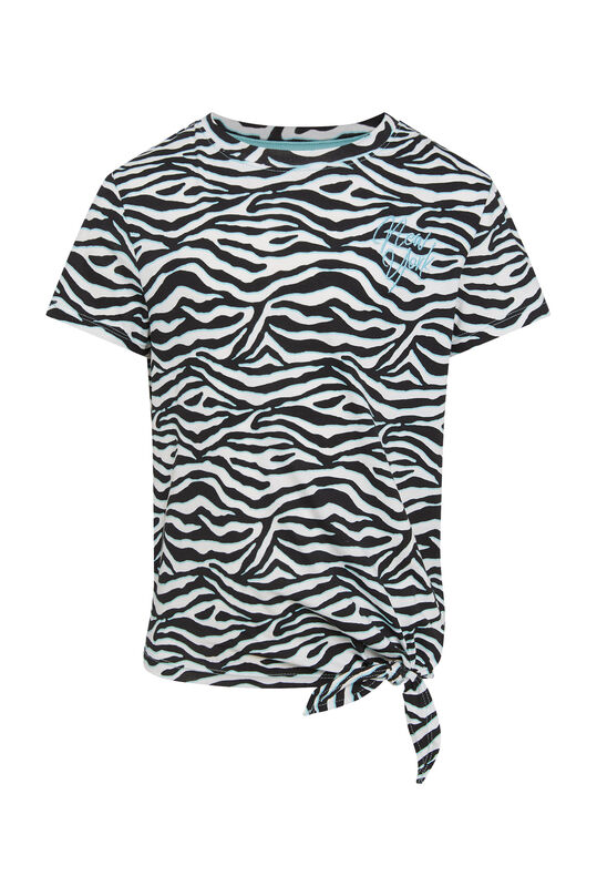 Meisjes T-shirt met zebradessin en knoopdetail All-over print