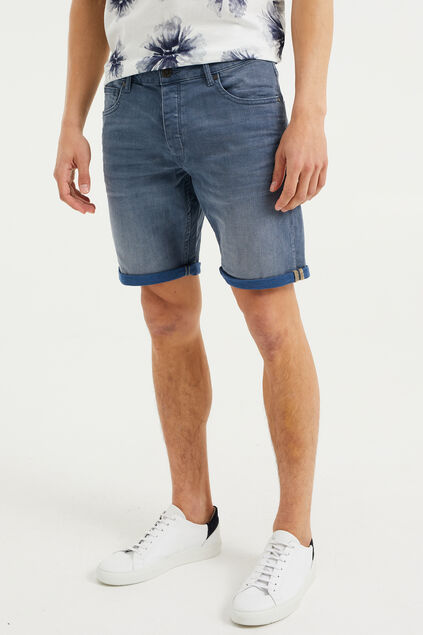 Heren denimshort Marineblauw