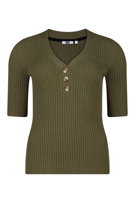 Dames geribde top Khaki
