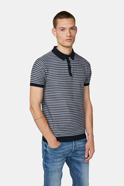 Heren gestreepte knit polo Marineblauw