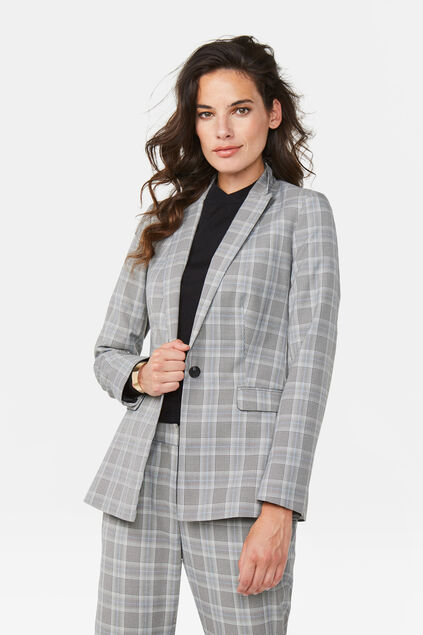 Dames regular fit blazer Lichtgrijs gemeleerd
