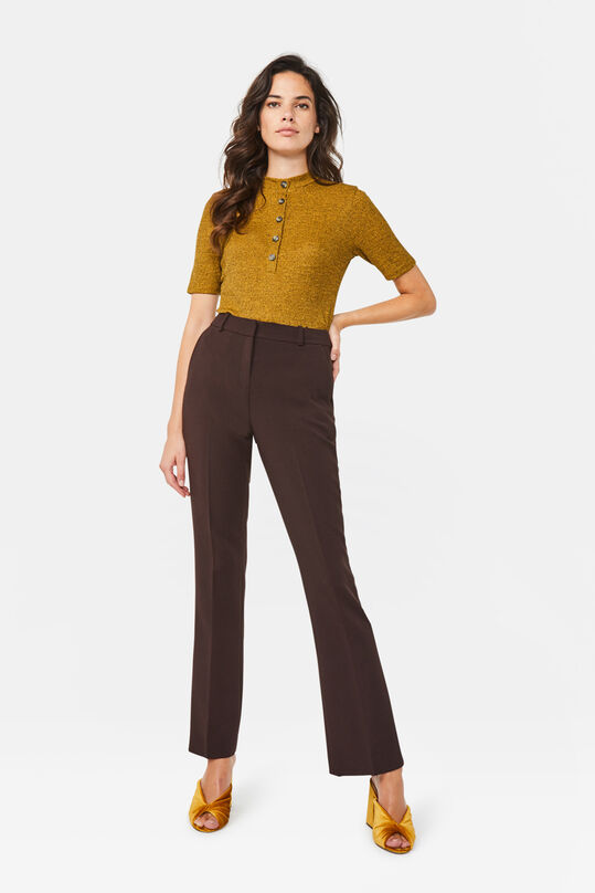 Dames high waist flared broek Donkerbruin