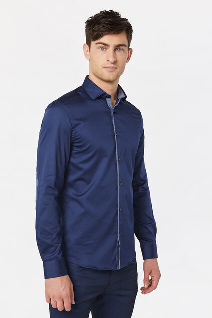 Heren slim fit overhemd met satin touch Marineblauw