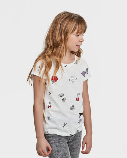 MEISJES PRINTED TOKYO BLOSSOM T-SHIRT Wit