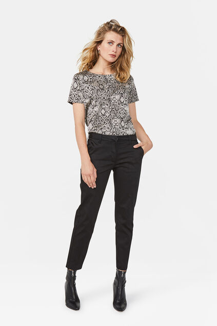 DAMES SLIM FIT HIGH STRETCH CROPPED CHINO Zwart