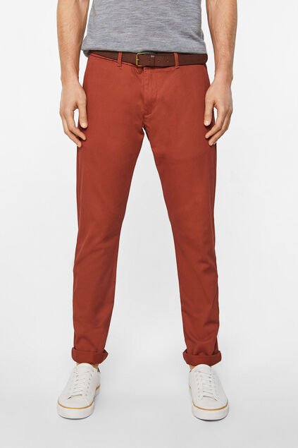 Heren effen slim tapered chino Rood