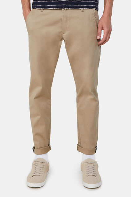 Heren slim fit effen chino Beige