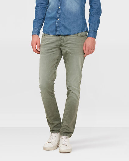 HEREN SKINNY TAPERED STRETCH BROEK Grijsgroen