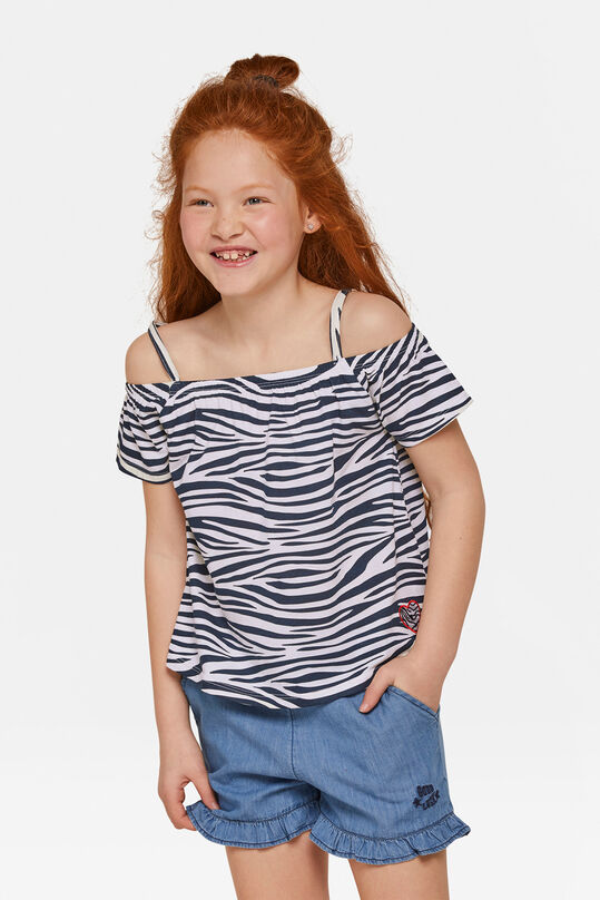 Meisjes zebraprint off-shoulder top Wit