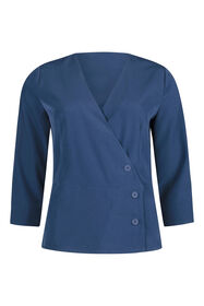 Dames knoopdetail blouse_Dames knoopdetail blouse, Blauw