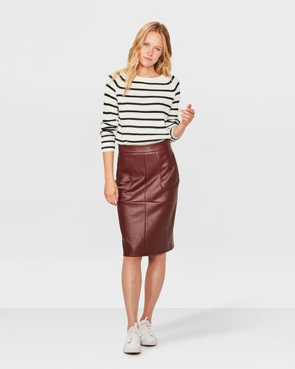 DAMES FAUX LEATHER PENCIL SKIRT Bordeauxrood
