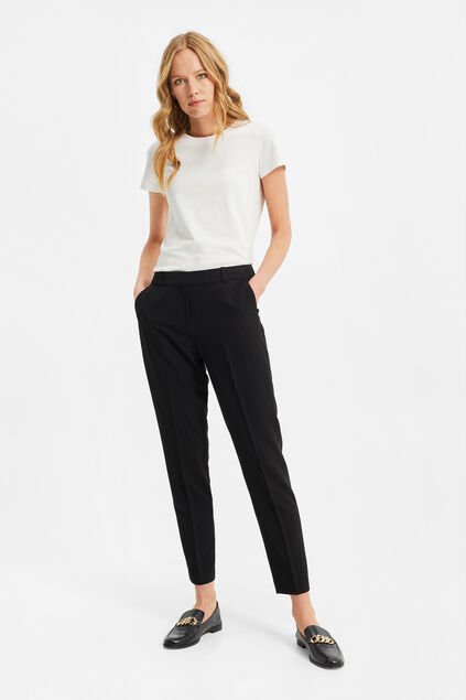 Dames regular fit pantalon met stretch Zwart