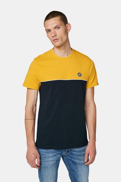 Heren colourblock T-shirt Marineblauw
