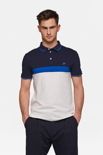 Heren colourblocking pique polo Wit