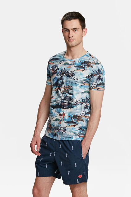 HEREN CALIFORNIA PRINT T-SHIRT Lichtblauw
