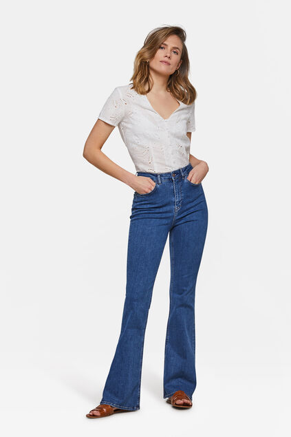 High waist flaire jeans Donkerblauw
