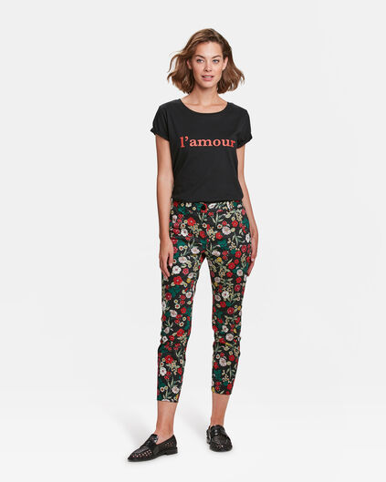 DAMES SLIM FIT BLOEMENPRINT PANTALON Zwart