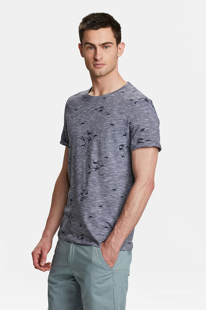 HEREN VOGELPRINT T-SHIRT Marineblauw