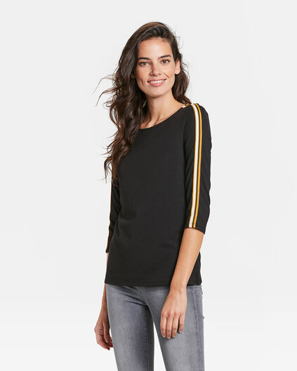 DAMES SIDE STRIPE T-SHIRT Zwart