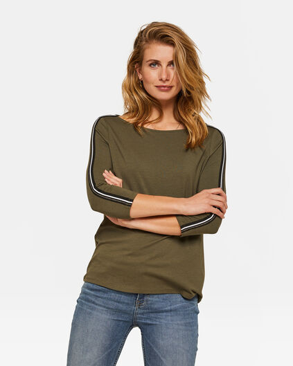 Dames sporty stripe top Legergroen
