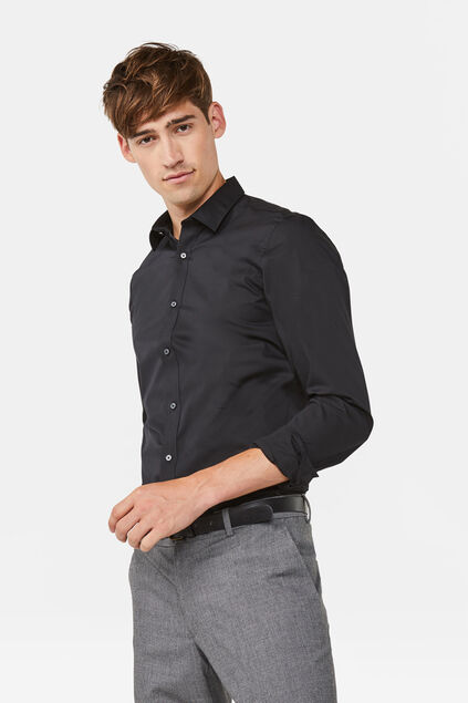 Heren slim tall fit overhemd Zwart
