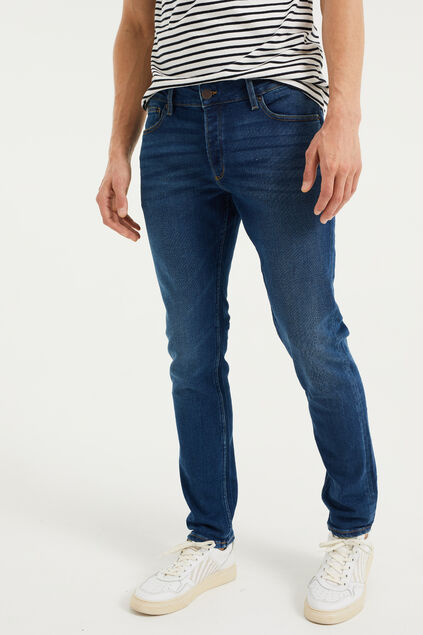 Heren slim tapered jeans van jog denim Donkerblauw