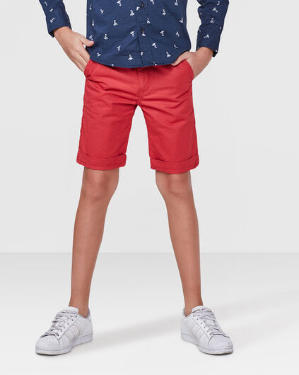JONGENS REGULAR FIT GARMENT DYE CHINO SHORT Rood
