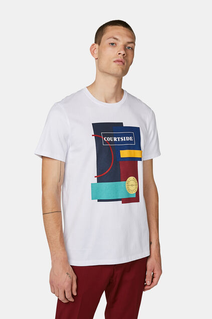 Heren colourblock T-shirt Wit