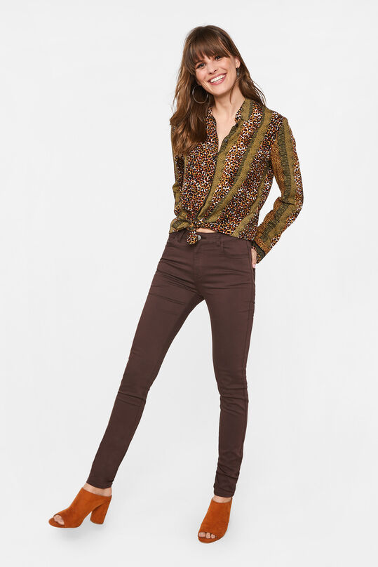 Dames mid rise skinny jeans met stretch Donkerbruin
